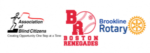 Logos of ABC, Bookline Rotary club and the Renegades