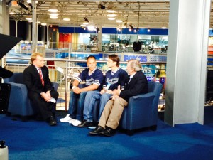 In the Fox Studio, Bob Ward interviews Wrong Way, Rob and Jack