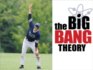 Picture of Aqil Sajjad in the field with text from the show Big Bang Theory