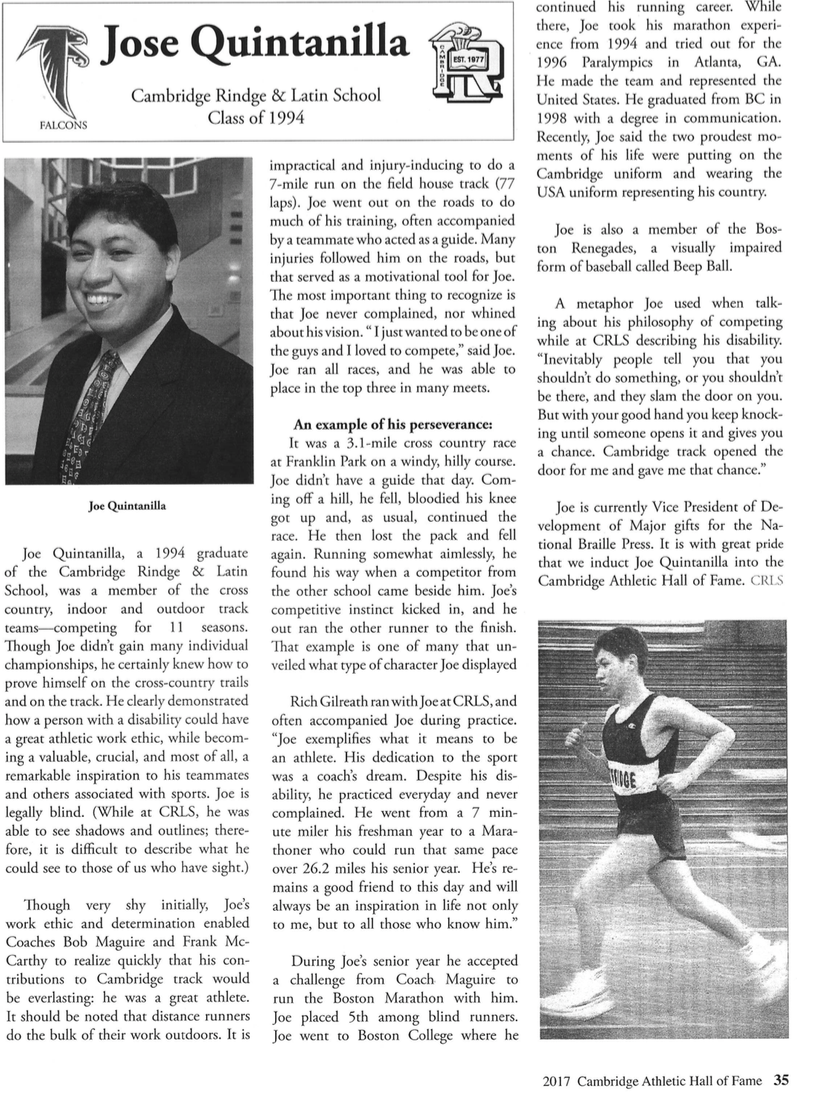 Joe Quintanilla's Hall of Fame article from the April 29th induction ceremony