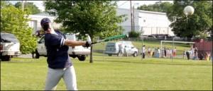 Joe McCormick takes a hack during Batting practice