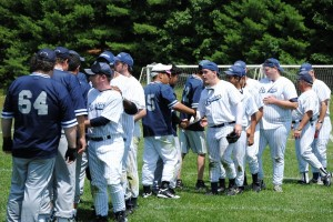 Photo of Renegades and Long Island Bombers shaking hands after an extra inning game in 2011