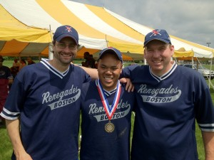 Picture of Wrong way, Rob Weissman and Ron Cochran with Wrong way wearing his medal