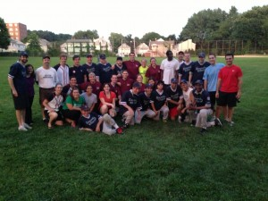 Team photo of Sullivan & Worcester and the Renegades after the scrimmage