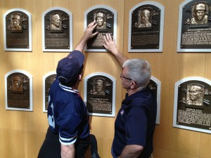 Larry Moore shows Dino Robbie Alomar's Hall of Fame plaque