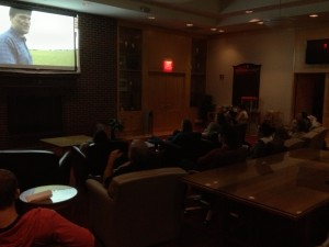 Phot of the softball team watching the movie