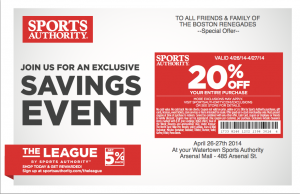 Coupon to save 20% off your purchase at Watertown Location of Sports Authority on April 26/27