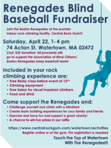 Flyer with details about the Renegade rock Climbing event