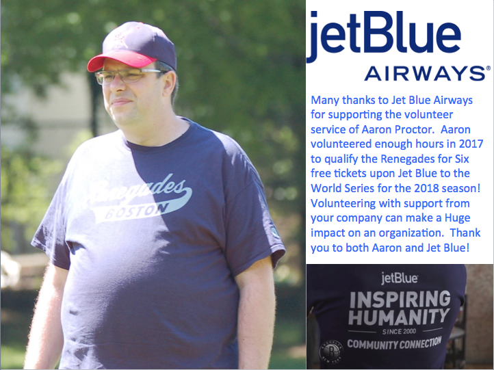 "Picture of Aaron Proctor and a shirt from Jet Blue that reads ""Inspiring Humanity"" Jet Blue for Good"