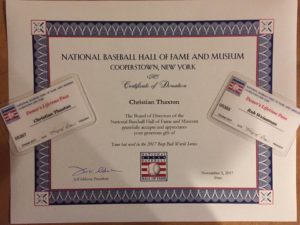 Thaxton has a certificate from the National Baseball Hall of Fame