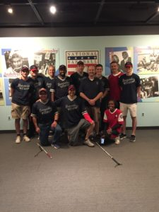 Group picture of 12 of us at the Baseball Hall of Fame