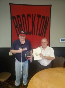 Rob pictured with Bill Hogan getting his award for going into the Hall of Fame